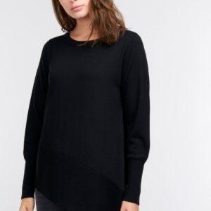 Asymmetrische sweater met geribde zoom bestellen via fashionciao