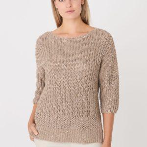 3/4 mouw boothals trui met pailletten bestellen via fashionciao