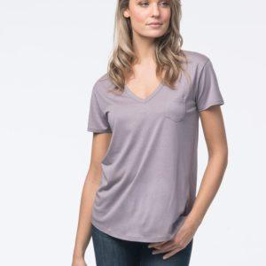 Basic dames T-shirt met V-hals en borstzak bestellen via fashionciao