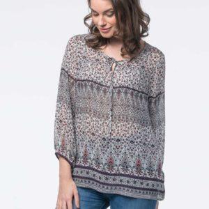 Semi-transparante blouse met print bestellen via fashionciao
