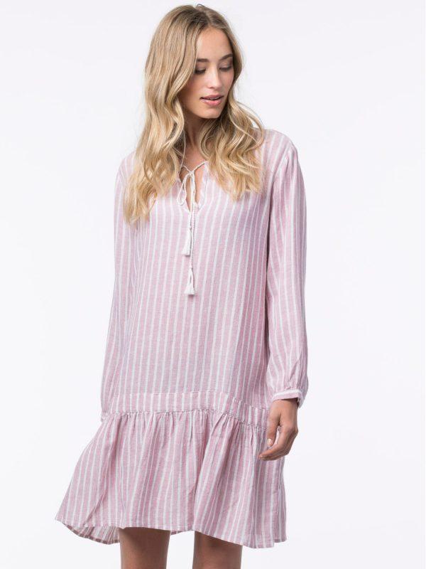Gestreepte jurk met volant van linnen-mix bestellen via fashionciao