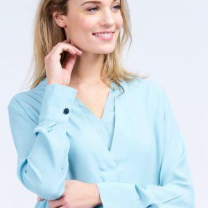 Blouse met dubbellaagse V-hals bestellen via fashionciao