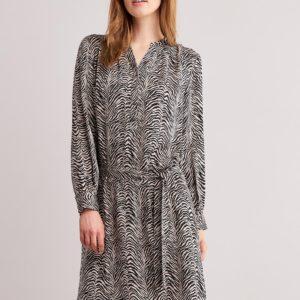 Zijden zebraprint jurk met riem bestellen via fashionciao