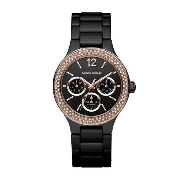 """Aries Gold – """"Conqueress"""" – L5004Z RG-BK (Rosé goud met Zwart, keramisch) dameshorloge bestellen via fashionciao"""