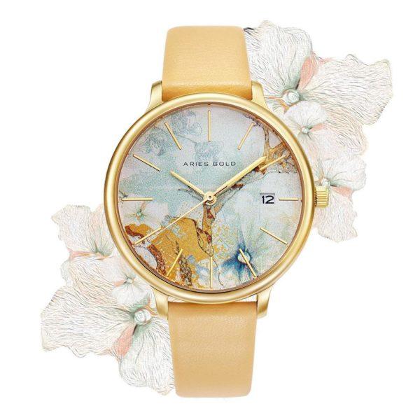 """Aries Gold – Fleur """"Colour your life"""" – L5035 G-ORFL (Goud met oranje bloem) bestellen via fashionciao"""