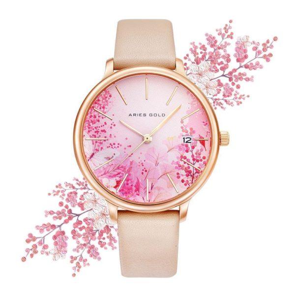"""Aries Gold – Fleur """"Colour your life"""" – L5035 RG-PKFL (Rosé goud met roze bloem) bestellen via fashionciao"""