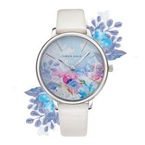 """Aries Gold – Fleur """"Colour your life"""" – L5035 S-BUFL (Zilver met blauwe bloem) bestellen via fashionciao"""