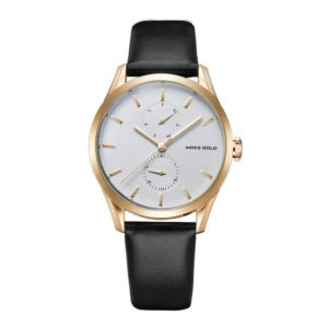 "Aries Gold – ""Liberty"" Day Date – Dameshorloge L5031 G-W-L (Goud, Wit met Zwarte band) bestellen via fashionciao"