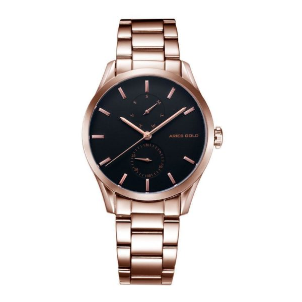 "Aries Gold – ""Liberty"" Day Date – Dameshorloge L5031 RG-BK (Rosé Goud met Zwart) bestellen via fashionciao"