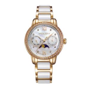 "Aries Gold – ""Luna"" Moon Phase – Dameshorloge L58010L G-MP (Goud met Wit) bestellen via fashionciao"
