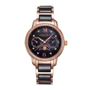 """Aries Gold – """"Luna"""" Moon Phase – Dameshorloge L58010L RG-BKMP (Rosé Goud met Zwart) bestellen via fashionciao"""
