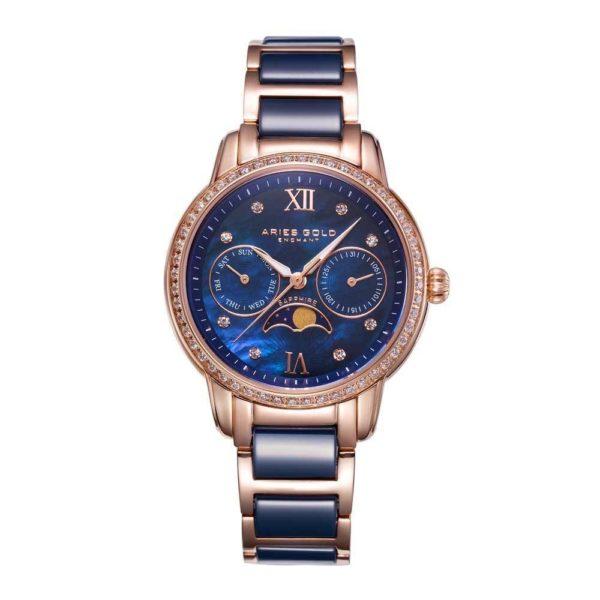 "Aries Gold – ""Luna"" Moon Phase – Dameshorloge L58010L RG-BUMP (Rosé Goud met Blauw) bestellen via fashionciao"