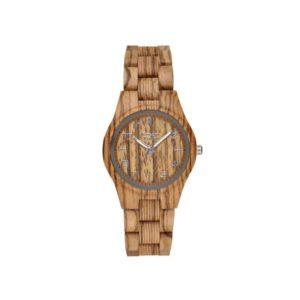 "GreenTime – Houten Dames horloge ZW099A ""Basic"" Dublin, Quartz uurwerk (Hout, Bruin, Grijs, Zilver) bestellen via fashionciao"