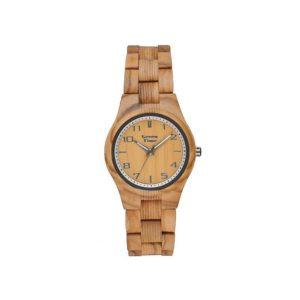 "GreenTime – Houten Dames horloge ZW099B ""Basic"" Paris, 3HD Quartz uurwerk (Olijf Hout, Bruin, Donkergrijs, Zilver) bestellen via fashionciao"