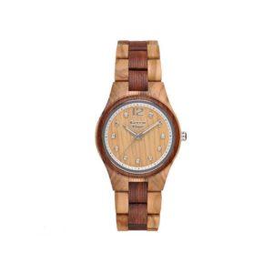 "GreenTime – Houten Dames horloge ZW099C ""Basic"" Singapore Bi-Color (Olijf en Sandel Hout, Bruin, Zilver, Strass edelstenen) bestellen via fashionciao"