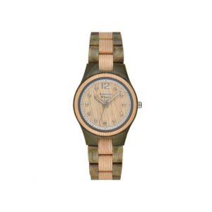 """GreenTime – Houten Dames horloge ZW099D """"Basic"""" Bi-Color (Esdoorn en Sandel Hout, Bruin, Zilver, Strass edelstenen) bestellen via fashionciao"""